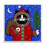 Tuxedo CAT Santa Tile Coaster