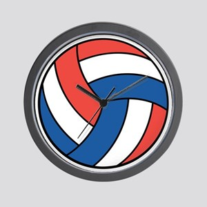 Red, White and Blue Volleyball Wall Clock