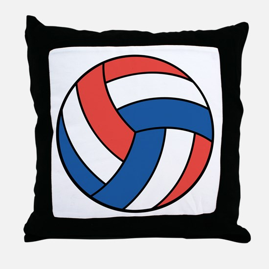 Red, White and Blue Volleyball Throw Pillow