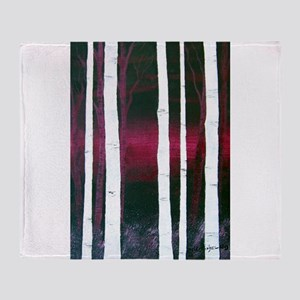 White Trees on Red Throw Blanket
