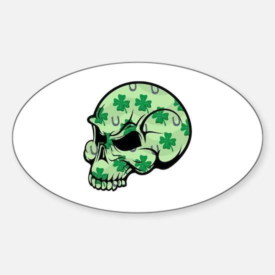 Irish Lucky Skull Sticker (Oval)