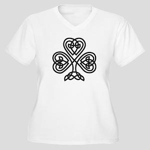 Celtic Shamrock Women's Plus Size V-Neck T-Shirt