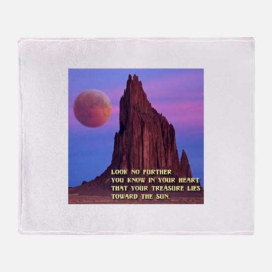 Red Moon at Shiprock, NM Throw Blanket
