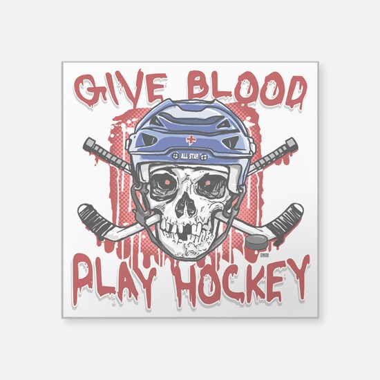 """Give Blood Hockey Blue Square Sticker 3"""" x 3"""""""
