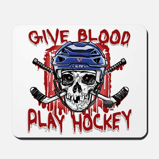 Give Blood Hockey Blue Mousepad