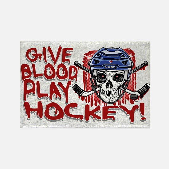Give Blood Hockey Blue Rectangle Magnet