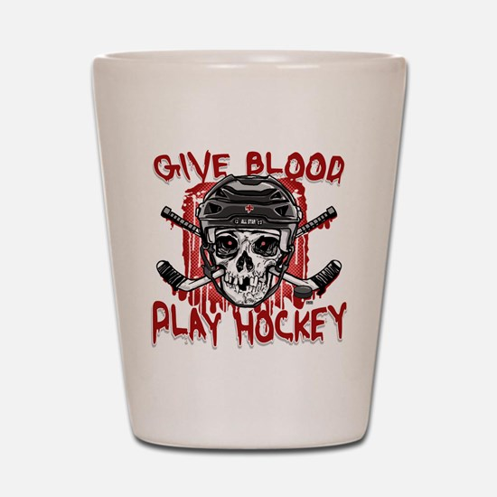 Give Blood Hockey Black Shot Glass