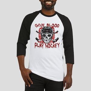 Give Blood Hockey Black Baseball Jersey