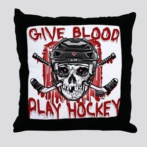 Give Blood Hockey Black Throw Pillow