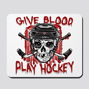 Give Blood Hockey Black Mousepad