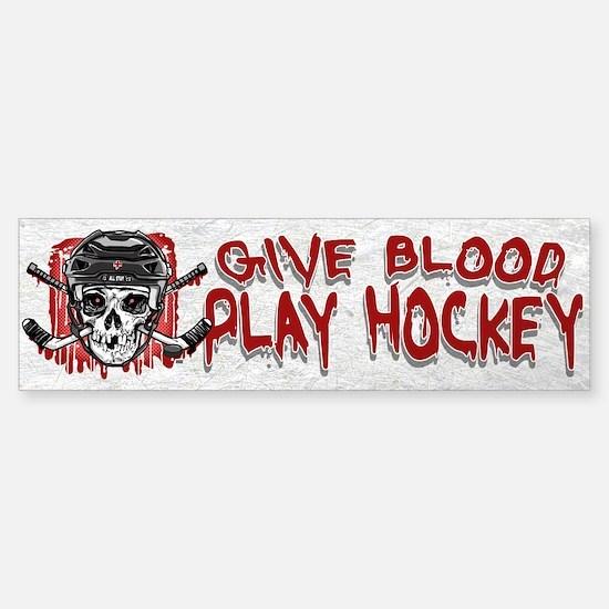 Give Blood Hockey Black Sticker (Bumper)