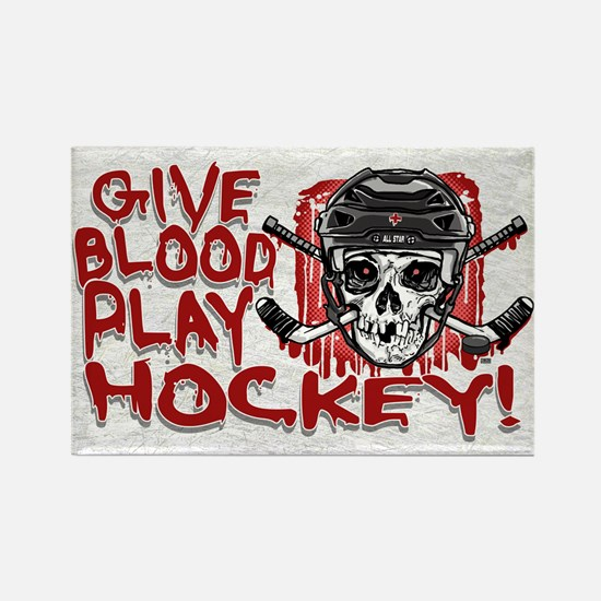 Give Blood Hockey Black Rectangle Magnet