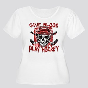 Give Blood Hockey Red Women's Plus Size Scoop Neck