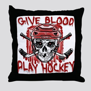 Give Blood Hockey Red Throw Pillow