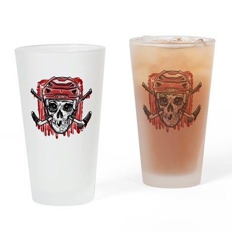 Give Blood Hockey Red Drinking Glass