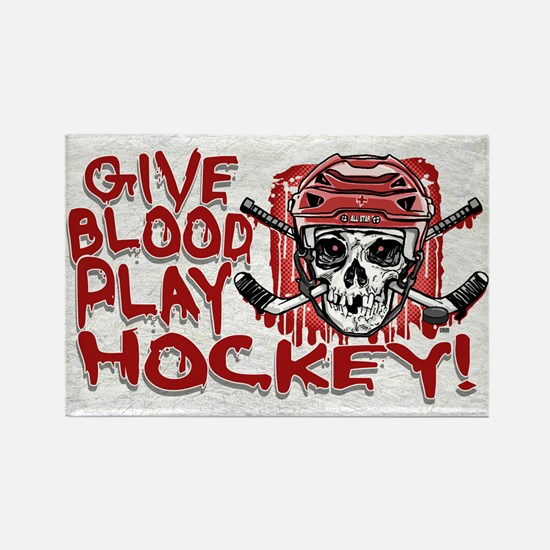 Give Blood Hockey Red Rectangle Magnet