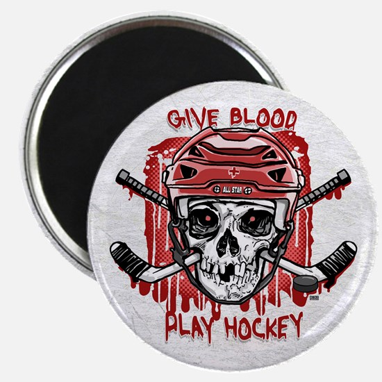 Give Blood Hockey Red Magnet