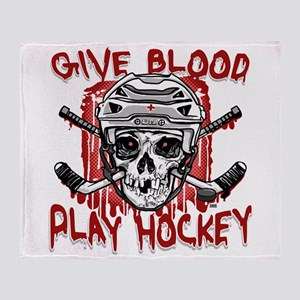 Give Blood Hockey White Throw Blanket