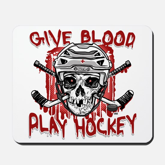 Give Blood Hockey White Mousepad
