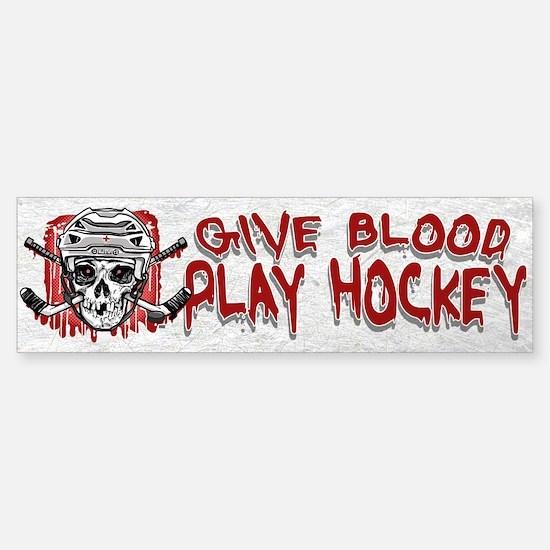 Give Blood Hockey White Sticker (Bumper)