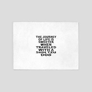 Traveled With Shih Tzu Dog Design 5'x7'Area Rug