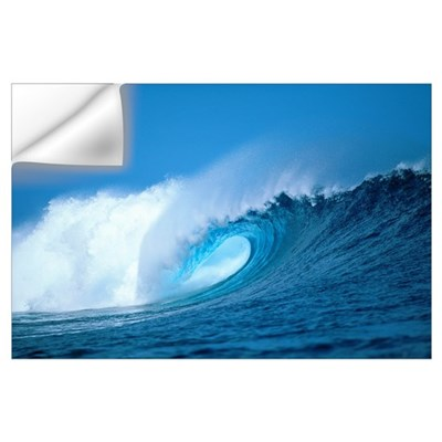 Hawaii, Powerful Curling Wave, Whitewash And Spray Wall Decal