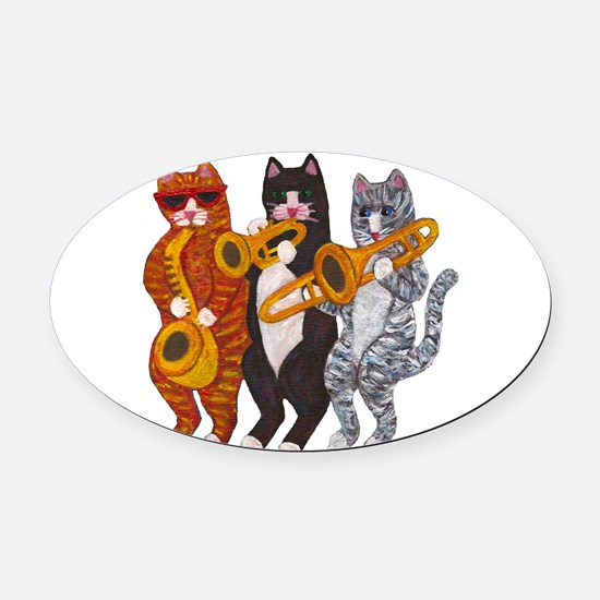 Cat Brass Section Oval Car Magnet