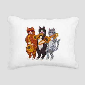 Cat Brass Section Rectangular Canvas Pillow