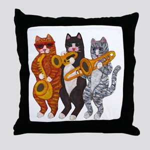 Cat Brass Section Throw Pillow