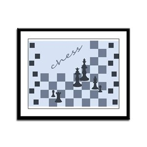 Chess King and Pieces Framed Panel Print