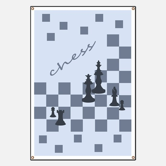 Chess King and Pieces Banner
