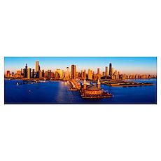 Sunrise at Navy Pier, Lake Michigan, Chicago, Cook Poster