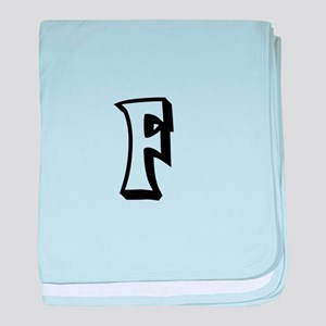 Action Monogram F baby blanket