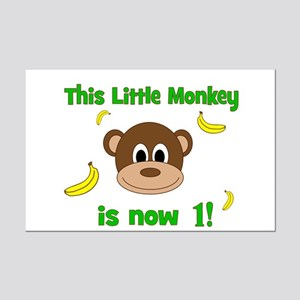 This Little Monkey is Now 1! with Bananas Posters
