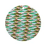 School of Tropical Amazon Fish 1 Ornament (Round)