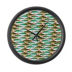 School of Tropical Amazon Fish 1 Large Wall Clock