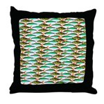 School of Tropical Amazon Fish 1 Throw Pillow