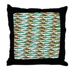 School of Tropical Amazon Fish 1 Throw Pillow