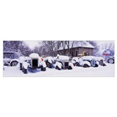 Tractors in snow, Woodstock, McHenry County, Illin Poster