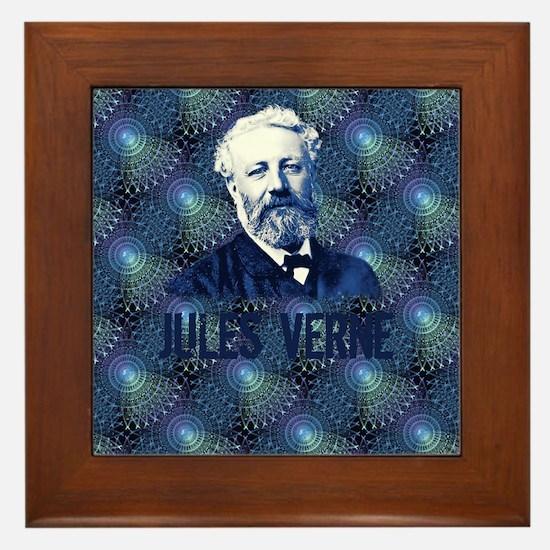 Jules Verne Steampunk in Blue Framed Tile