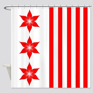 Red Flowers and Stripes Shower Curtain