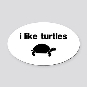 I Like Turtles Oval Car Magnet