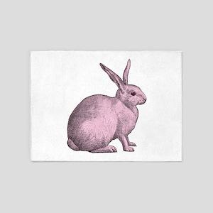 Pink Bunny Rabbit 5'x7'Area Rug