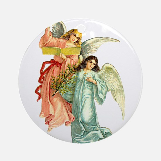 Beautiful Victorian Angels Singing Ornament (Round