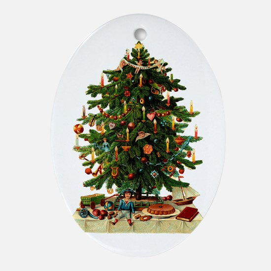 Victorian Christmas Tree with Clandles and Present