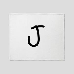 Bookworm Monogram J Throw Blanket