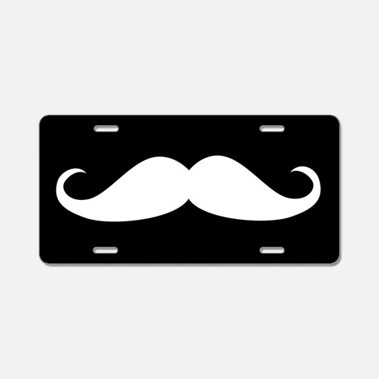 Black and White Mustache Aluminum License Plate