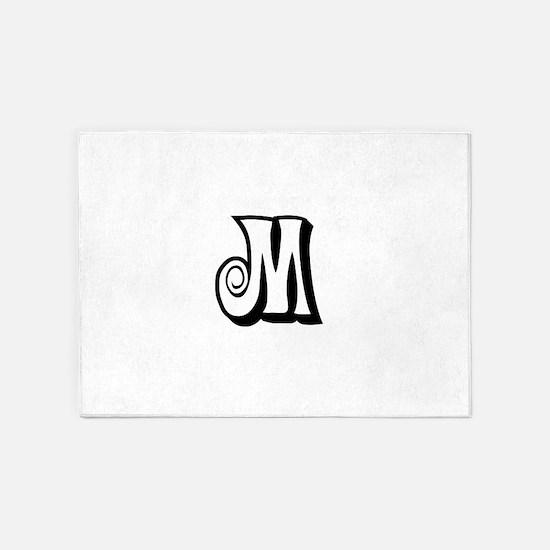 Action Monogram M 5'x7'Area Rug