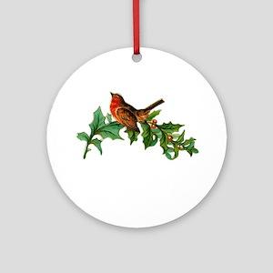 Victorian Chirstmas Bird on Holly Sprig Ornament (