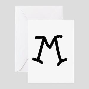 Bookworm Monogram M Greeting Card